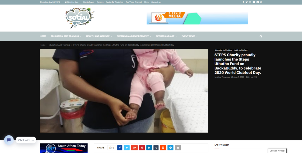 STEPS Charity proudly launches the Steps Uthutho Fund on BackaBuddy, to celebrate 2020 World Clubfoot Day