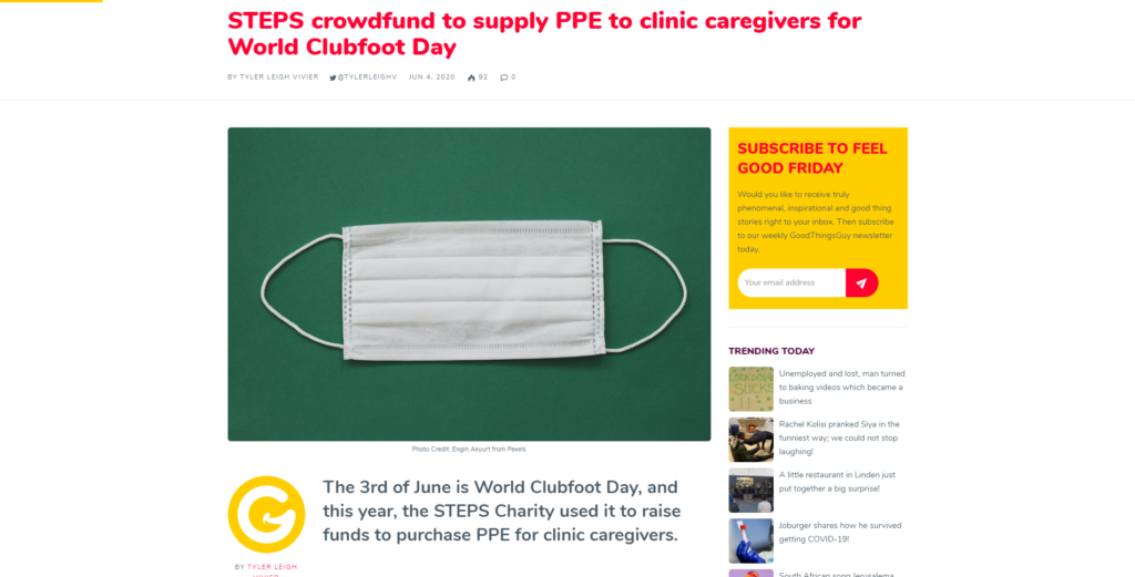 STEPS crowdfund to supply PPE to clinic caregivers for World Clubfoot Day